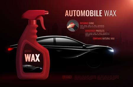 Affiche publicitaire de produit d'entretien automobile avec bouteille de cire automobile de haute qualité et illustration vectorielle réaliste de berline de luxe Vecteurs