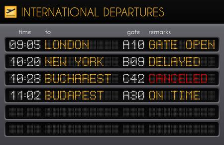 Composición realista de la placa electrónica del aeropuerto con salidas internacionales, puertas y descripciones de comentarios, ilustración vectorial Ilustración de vector