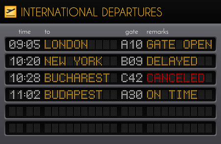 Electronic airport board realistic composition with international departures times gates and remarks descriptions vector illustration Illustration