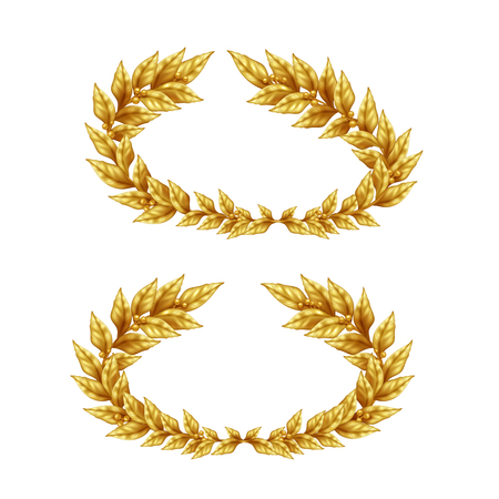 Two vintage golden laurel wreaths isolated on white background in realistic style vector illustration Illustration