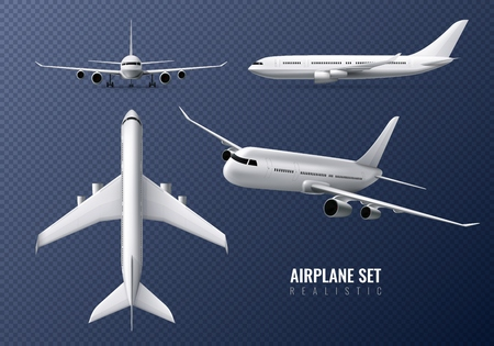 Passenger airplane realistic set on transparent background with airliners in different point of view isolated vector illustration Illustration