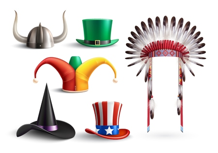 Colored set of traditional hats for national holidays and masquerade on white background realistic vector illustration