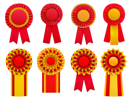 Red golden yellow decorative medal awards circulair rosettes badges lapel pins with ribbons realistic set vector illustration