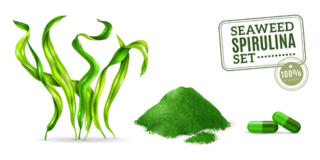 Spirulina supplement seaweed algae as plant dried powder and capsules for daily intake realistic set vector illustration