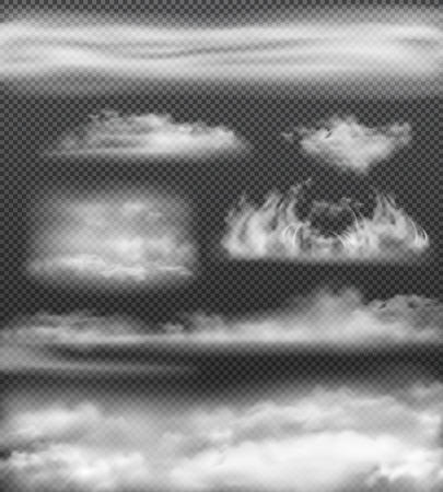 Jeu d'icônes réalistes de brouillard blanc isolé et de différentes tailles sur illustration vectorielle fond transparent