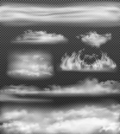 Zestaw ikon realistycznej białej mgły na białym tle i różnych rozmiarach na przezroczystym tle ilustracji wektorowych