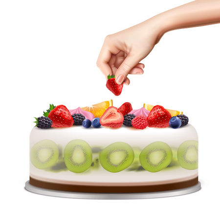 Hand decorating birthday or wedding cake with fresh fruits berries closeup side view realistic image vector illustration