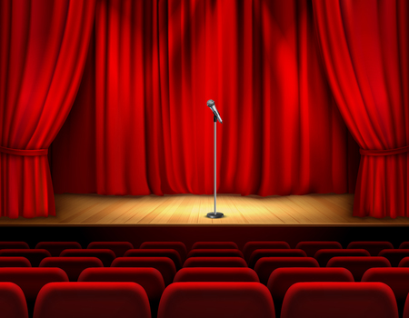 Realistic theater stage with wooden flooring and red curtain microphone and seats for spectators vector illustration