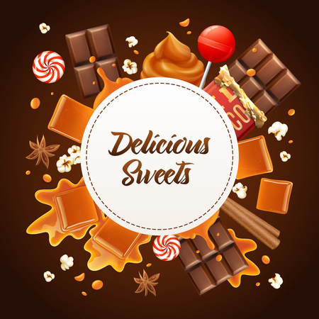 Round realistic caramel frame composition with delicious sweets headline caramel and chocolate vector illustration