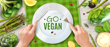 Go vegan realistic top view advertising poster with holding cutlery hands plate green vegetables placemat vector illustration