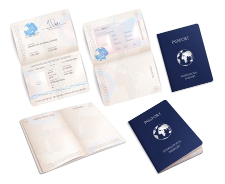 biometric international passport mockups in open and close forms realistic set isolated vector illustration