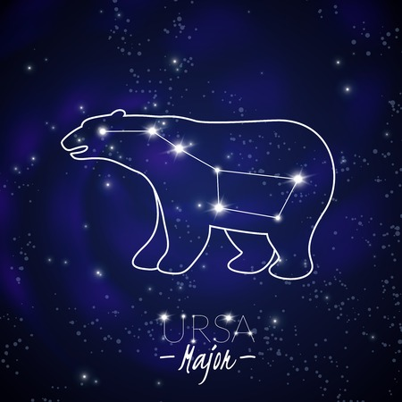 Great bear ursa major big dipper northern sky stars constellation pattern poster dark blue background vector illustration