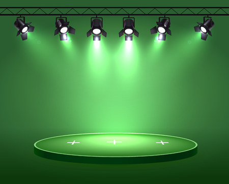 Spotlights realistic composition with set of six spot lights hanging on reel above the circle plot vector illustration