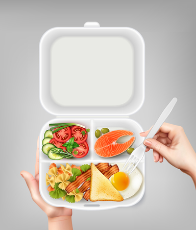 Opened disposable plastic lunchbox with salmon salad bacon egg and hand holding fork realistic composition vector illustration