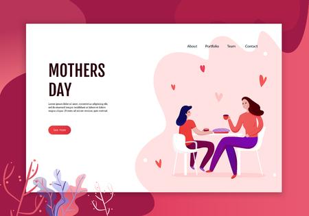 Concepto del día de las madres de banner web con mamá e hija durante la comida de la ilustración de vector de pastel festivo