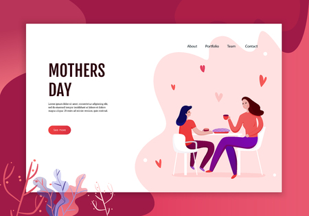 Mothers day concept of web banner with mom and daughter during eating of festive pie vector illustration