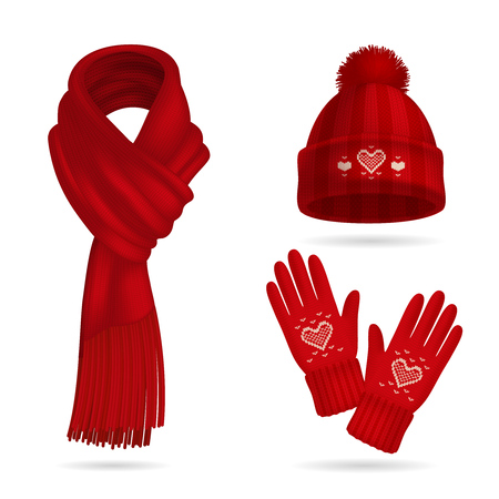 Winter red knitwear realistic set with hat and gloves isolated vector illustration
