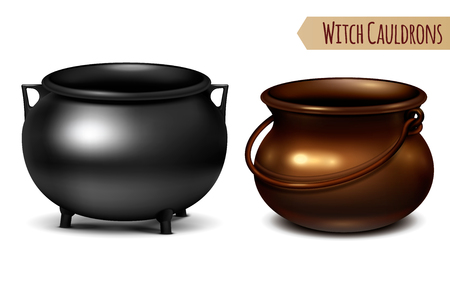 Two decorative witch cauldrons metal pots black and bronze with arc shaped hanger  realistic image vector illustration