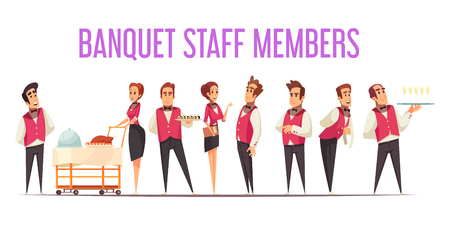 Banquet staff members in uniform with food at professional equipment on white background cartoon vector illustration Illustration