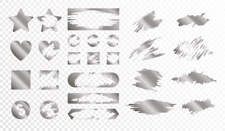 Rubbelkarten unterschiedlicher Form monochromer Satz isoliert auf transparentem Hintergrund flache Vektorillustration Vektorgrafik
