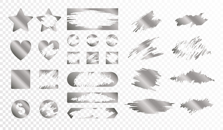Scratch cards of different shape monochrome set isolated on transparent background flat vector illustration  イラスト・ベクター素材