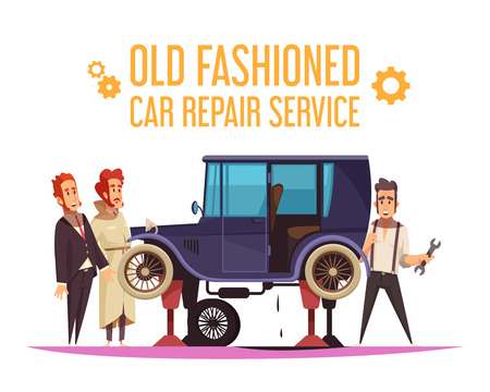 Human characters and repair of old fashioned car on white background cartoon vector illustration