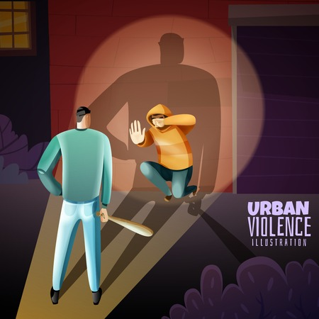Social crime urban youth violence warning composition with criminal threatening boy with wooden baton poster vector illustration Иллюстрация