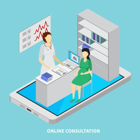 Mobile medicine concept with online consultation  symbols isometric vector illustration