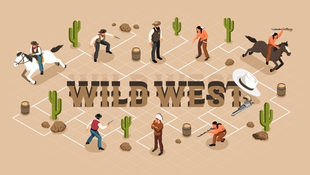 Cowboys native indians with weapon and sheriff isometric flowchart with prairie elements on beige background vector illustration 일러스트