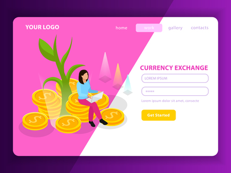 Stock exchange isometric landing page composition with registration form named currency exchange and get started button vector illustration