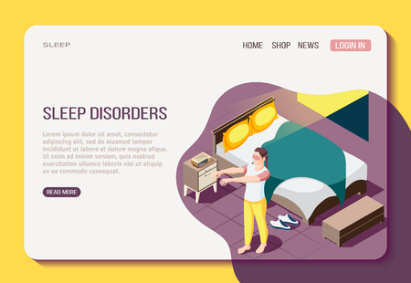 Disorder of night resting isometric web page with girl during walking in sleep vector illustration