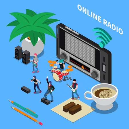 Online radio isometric composition with radio receiver tuned to music wave and band performing popular songs vector illustration