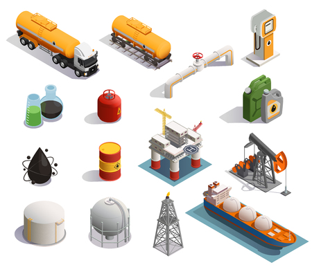 Oil petroleum industry isometric icons set with extraction refinery plant products transportation tanker pipeline isolated vector illustration