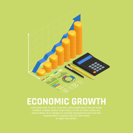 Investment funds increasing financial market development isometric composition with economic growth diagram and calculator background vector illustration Stock Vector - 125724702