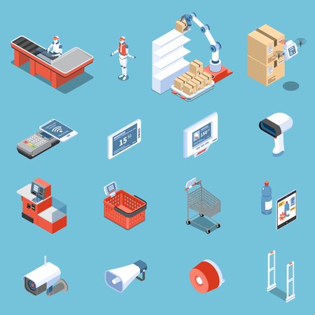 Supermarket of future isometric icons set of scanner for buyers robot unloader anti theft doors electronic price tag isolated vector illustration