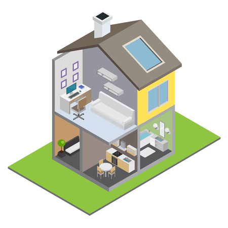 Townhouse building with town house interior and furniture isometric vector illustration