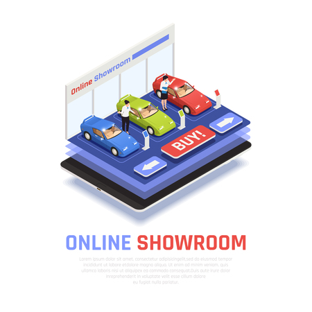 Car dealership composition with online showroom  symbols isometric vector illustration