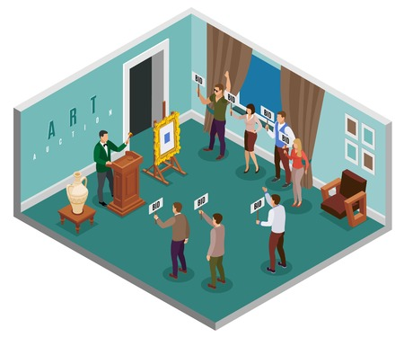 Auction isometric concept with hall in the building and people with tablets vector illustration Çizim