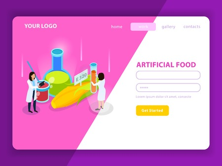 Artificial food with synthetic additives isometric web page with user account on white pink background vector illustration Illustration