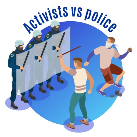 Activists vs police round background with radicals attacking police officers defending with shields isometric vector illustration