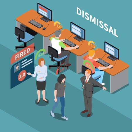 Social credit score system isometric composition with office environment and characters of workers with rating pictograms vector illustration Illusztráció