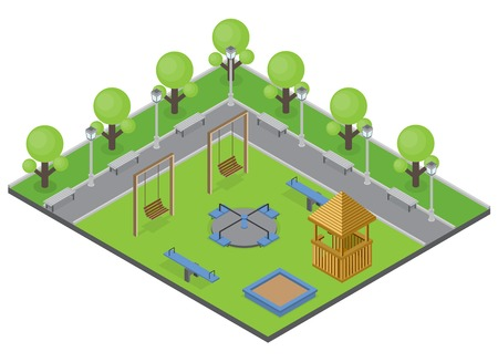Suburbia park concept with trees benches and playground isometric vector illustration