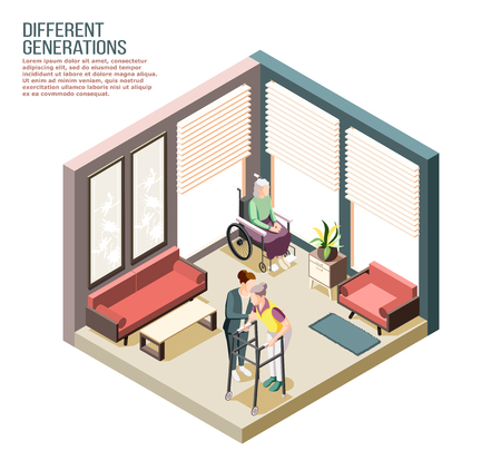 Different generations isometric composition with adult female person looking after elderly disabled women in nursing home vector illustration