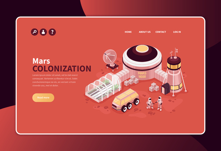 Isometric mars colonization concept banner website page design with editable text links and exterrestrial base image vector illustration