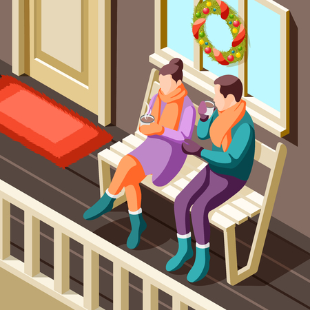 Cozy winter christmas background with young couple sitting on veranda and warming up with hot drink isometric vector illustration