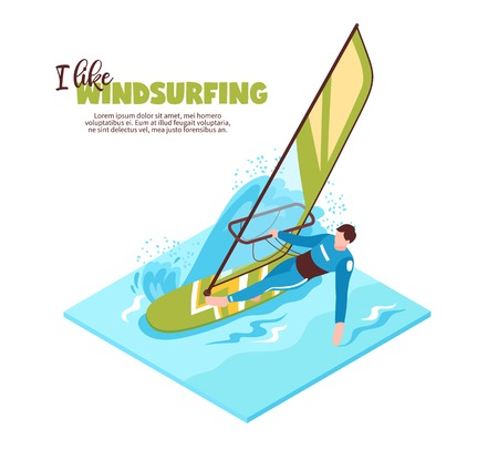 Water sport isometric design concept with windsurfer on board with sail and text i like windsurfing vector illustration