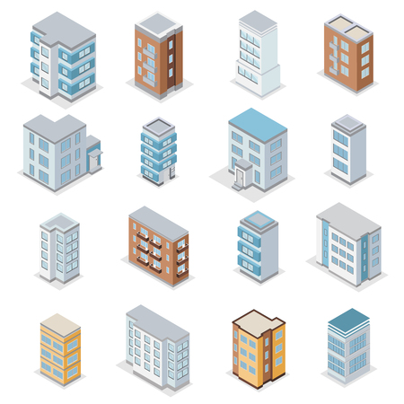 Townhouse building icons set with city landscape isometric isolated vector illustration