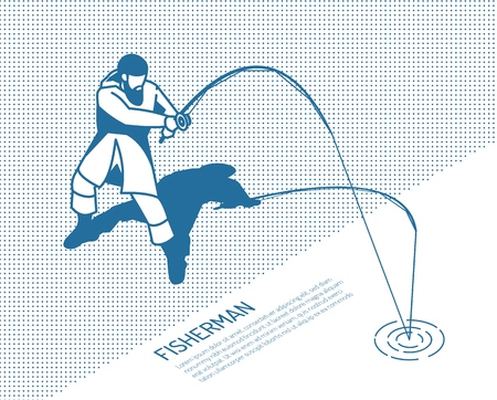 Fisherman in protective clothing with spinning rod during fish catching on textured background monochrome isometric vector illustration