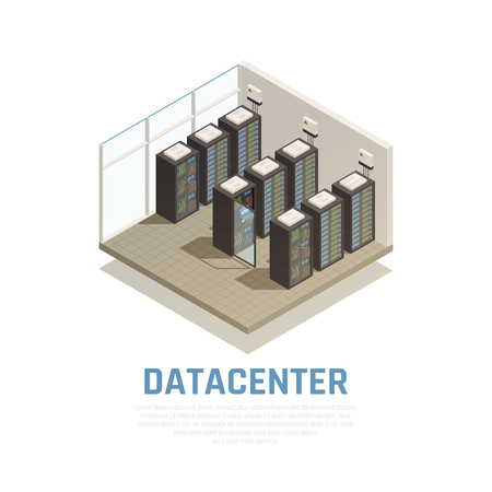 Datacenter composition with information storage and database symbols isometric vector illustration Illustration