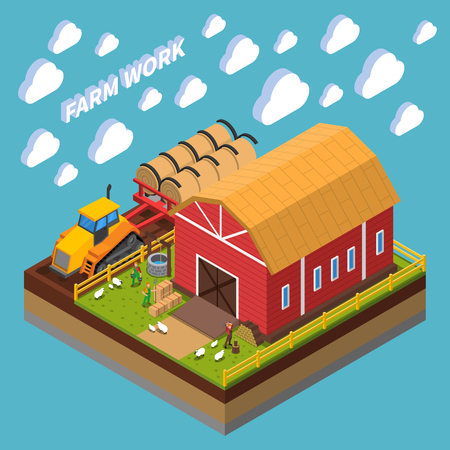 Farm work isometric composition with farmers nursing pets near shed on backyard vector illustration Иллюстрация